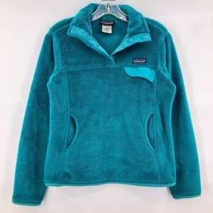 Like New Patagonia teal fleece pullover